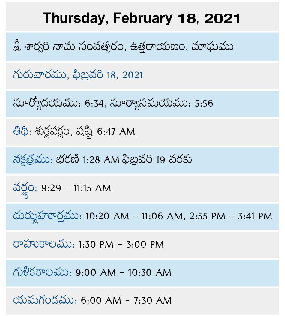 Telugu Calendar 2022 February.Venkatrama February 18 2021 Telugu Calendar